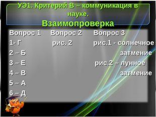УЭ1. Критерий В – коммуникация в науке. Взаимопроверка Вопрос 1 Вопрос 2 Вопр