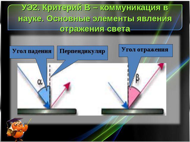 УЭ2. Критерий В – коммуникация в науке. Основные элементы явления отражения с...
