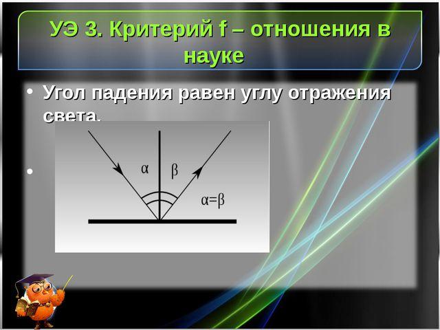 УЭ 3. Критерий f – отношения в науке Угол падения равен углу отражения света.