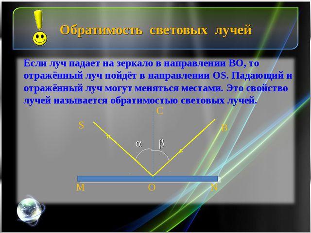 Обратимость световых лучей   B S M N O C Если луч падает на зеркало в напра...
