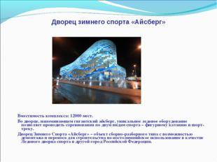 Дворец зимнего спорта «Айсберг» Вместимость комплекса: 12000 мест. Во дворце,