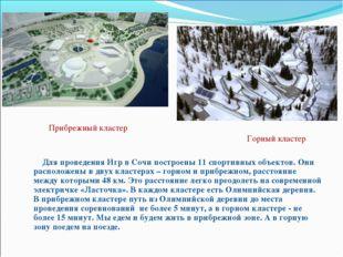 Для проведения Игр в Сочи построены 11 спортивных объектов. Они расположены
