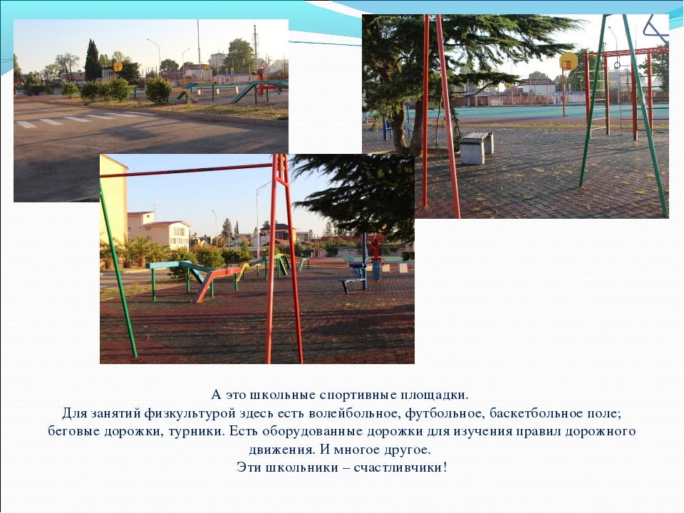 А это школьные спортивные площадки. Для занятий физкультурой здесь есть волей...