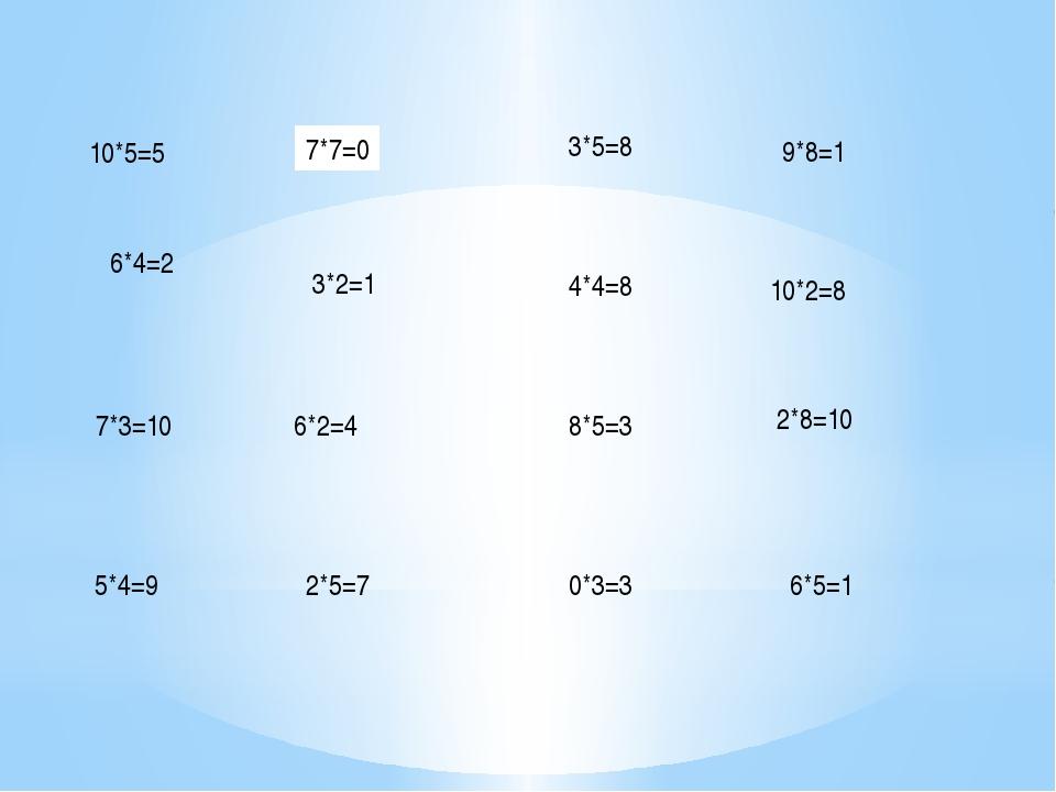 2*5=7 6*2=4 3*5=8 3*2=1 8*5=3 4*4=8 7*7=0 0*3=3 9*8=1 10*2=8 2*8=10 6*5=1 10*...