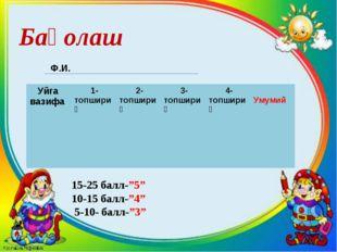 """Баҳолаш Ф.И. 15-25 балл-""""5"""" 10-15 балл-""""4"""" 5-10- балл-""""3"""" Уйга вазифа 1-топш"""