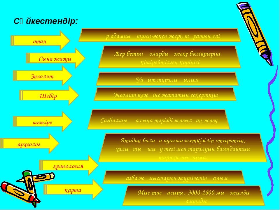 Сәйкестендір: Сына жазуы Энеолит Шебір шежіре археолог хронология Уақыт турал...