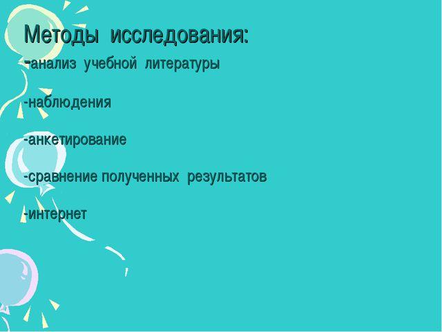 Методы исследования: -анализ учебной литературы -наблюдения -анкетирование -...