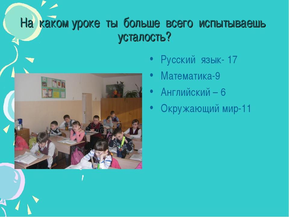 На каком уроке ты больше всего испытываешь усталость? Русский язык- 17 Матема...