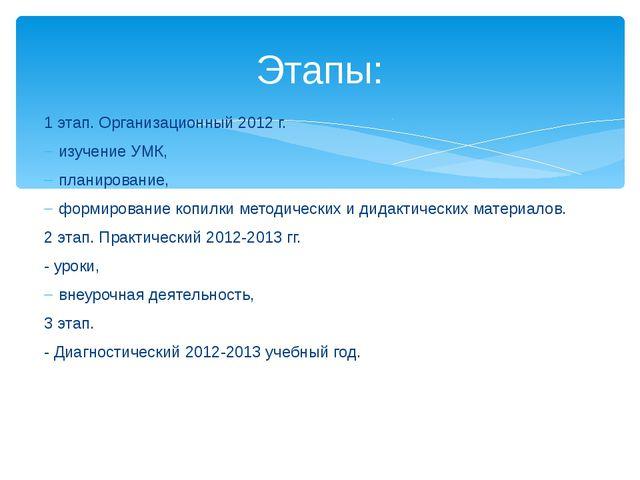 1 этап. Организационный 2012 г. изучение УМК, планирование, формирование копи...