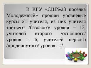 В КГУ «СШ№23 поселка Молодежный» прошли уровневые курсы 21 учителя, из них у