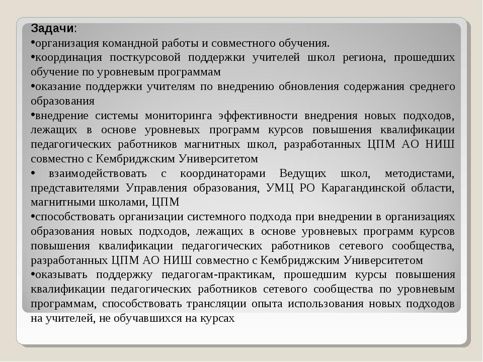Задачи: организация командной работы и совместного обучения. координация пост...