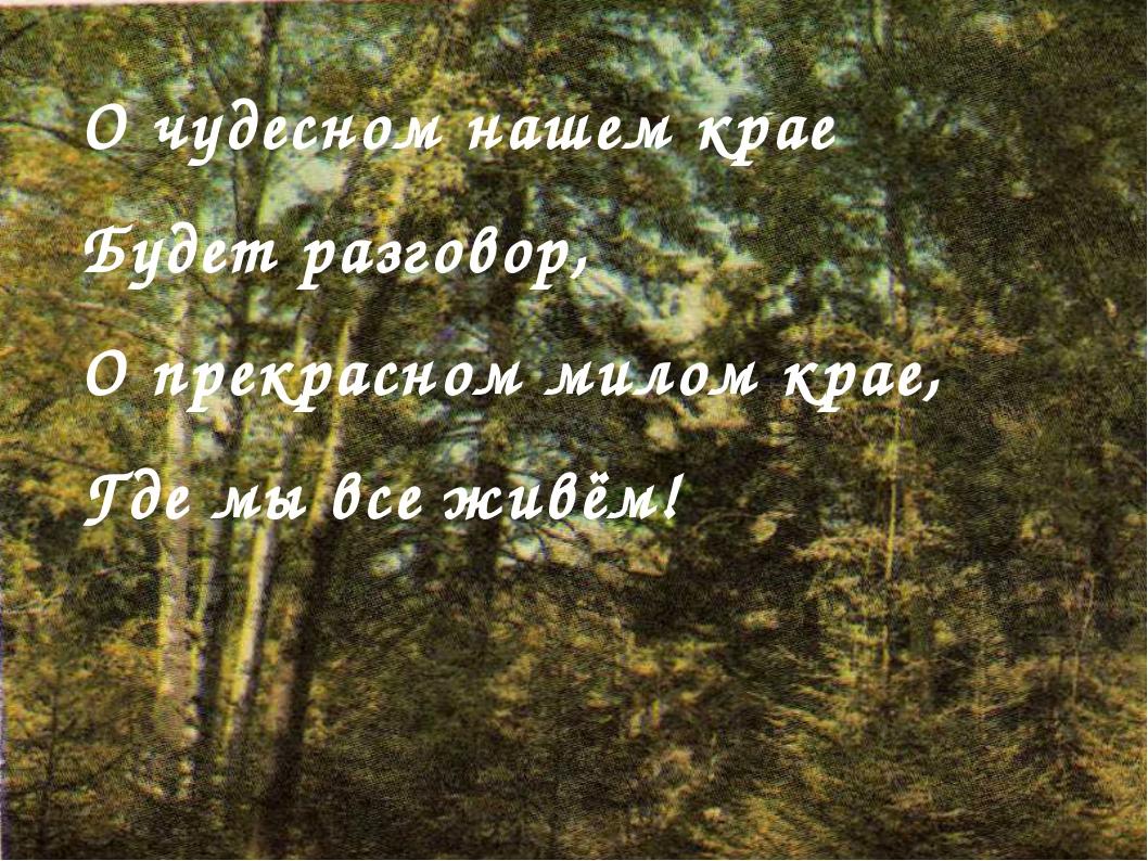 О чудесном нашем крае Будет разговор, О прекрасном милом крае, Где мы все жив...