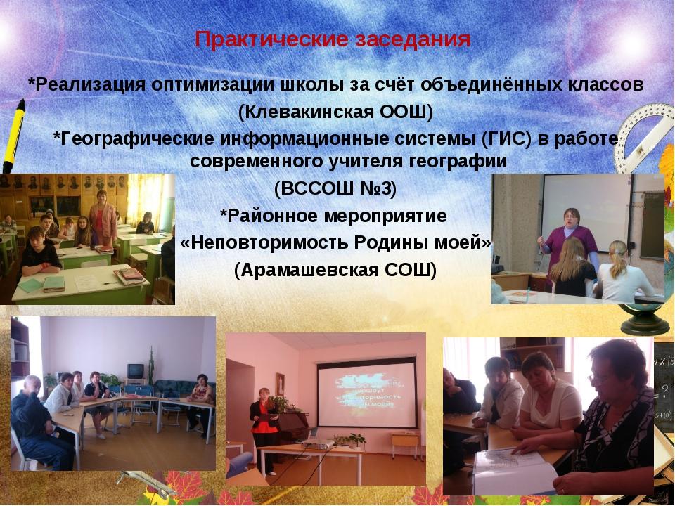 Практические заседания *Реализация оптимизации школы за счёт объединённых кла...