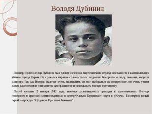 Володя Дубинин Пионер-герой Володя Дубинин был одним из членов партизанского