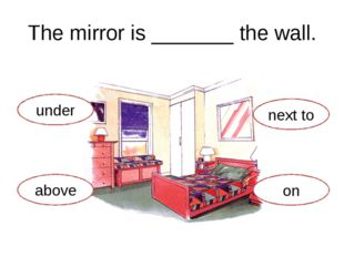 The mirror is _______ the wall. under above next to on