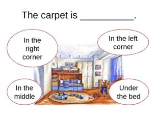 The carpet is __________. In the right corner In the middle Under the bed In