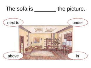 The sofa is _______ the picture. above next to in under