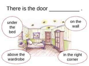 There is the door __________ . under the bed above the wardrobe in the right