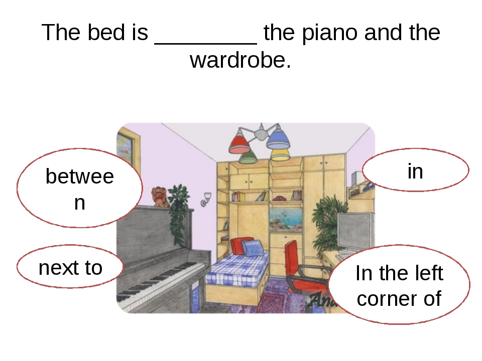 The bed is ________ the piano and the wardrobe. between In the left corner of...