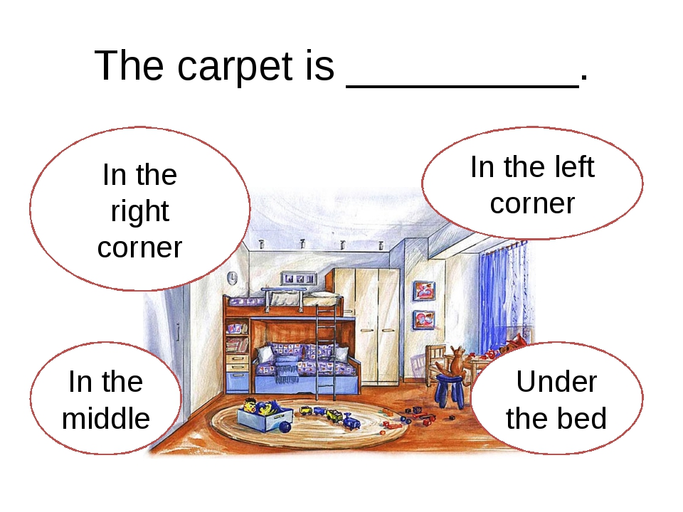 The carpet is __________. In the right corner In the middle Under the bed In...