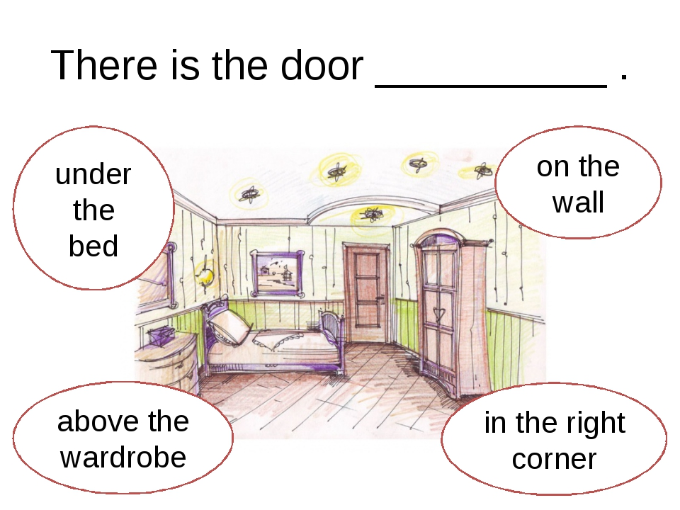 There is the door __________ . under the bed above the wardrobe in the right...