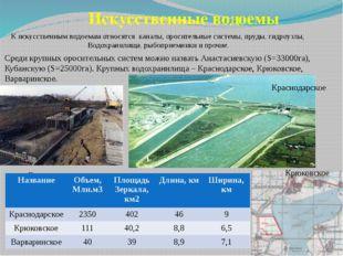 Искусственные водоемы К искусственным водоемам относятся каналы, оросительные