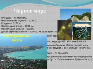 Черное море Площадь – 413488 км2, Максимальная глубина – 2245 м, Средняя – 12