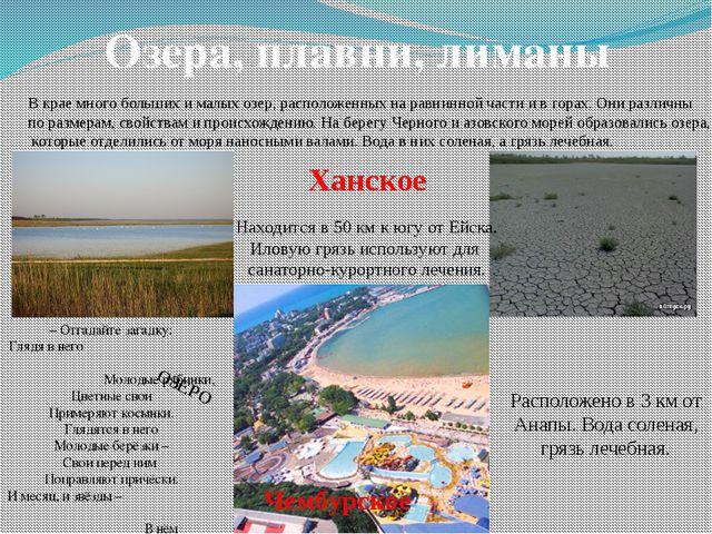 Озера, плавни, лиманы В крае много больших и малых озер, расположенных на рав...