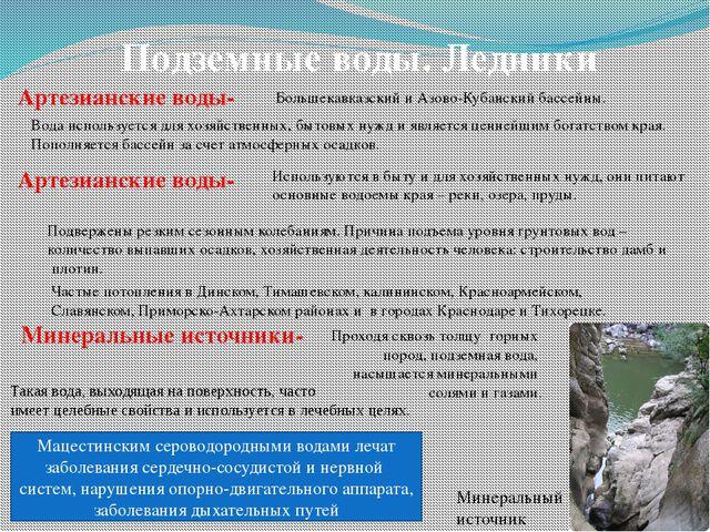 Подземные воды. Ледники Артезианские воды- Большекавказский и Азово-Кубанский...