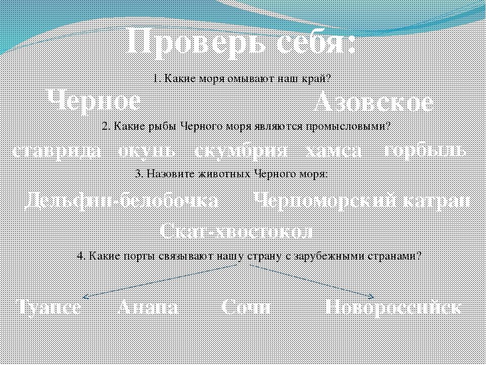 Проверь себя: 1. Какие моря омывают наш край? Черное Азовское 2. Какие рыбы Ч...