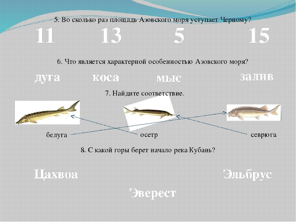 5. Во сколько раз площадь Азовского моря уступает Черному? 11 13 5 15 6. Что...