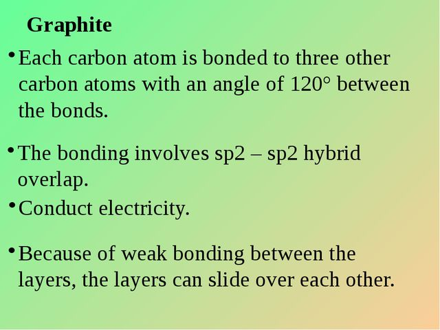 Graphite Each carbon atom is bonded to three other carbon atoms with an angle...