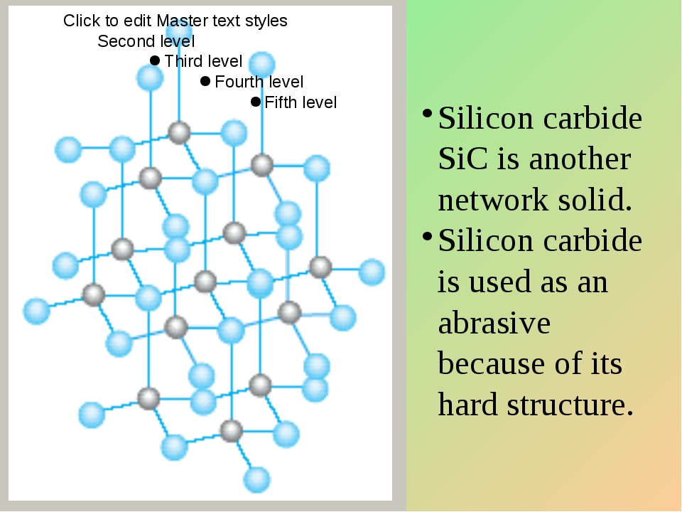 Silicon carbide SiC is another network solid. Silicon carbide is used as an a...