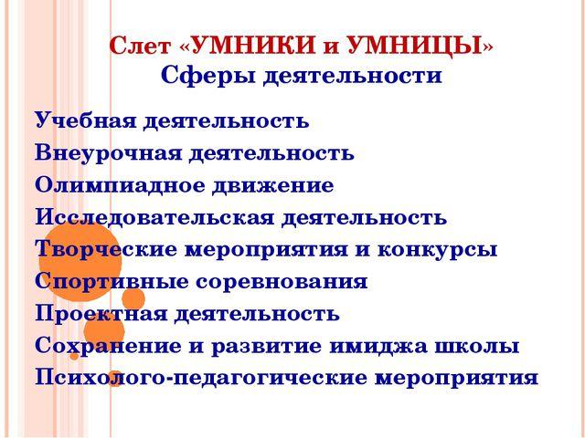 Слет «УМНИКИ и УМНИЦЫ» Сферы деятельности Учебная деятельность Внеурочная дея...