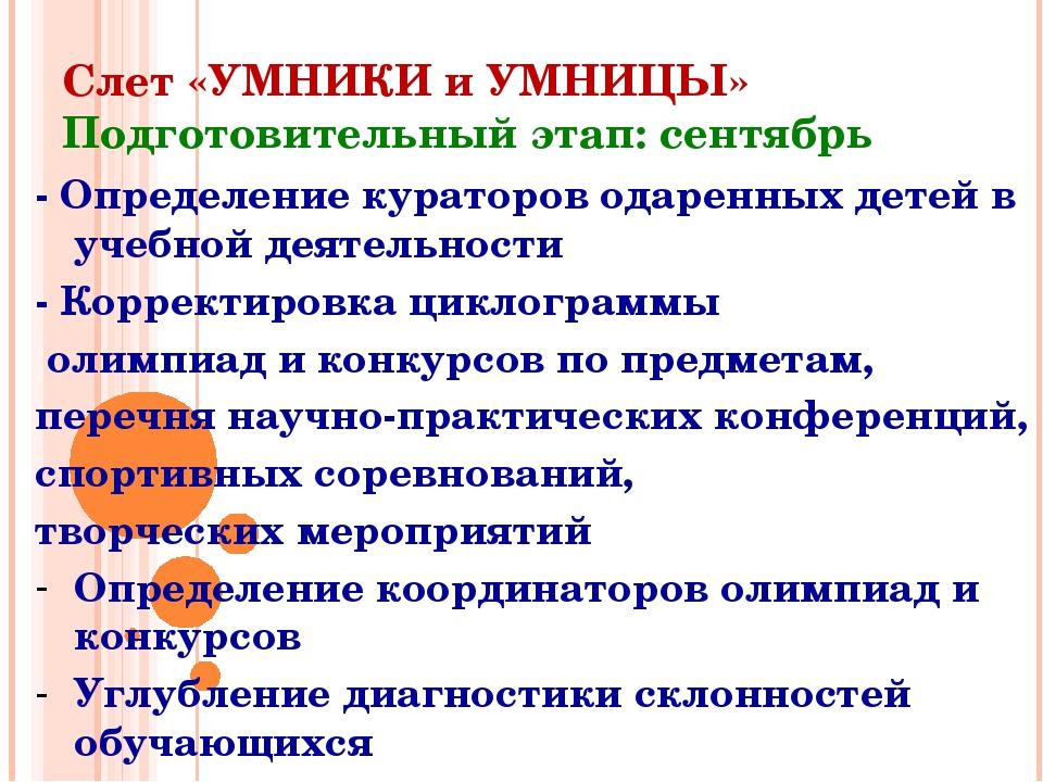 Слет «УМНИКИ и УМНИЦЫ» Подготовительный этап: сентябрь - Определение кураторо...