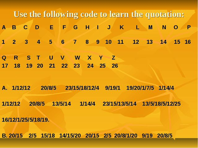 Use the following code to learn the quotation: A B C D E F G H I J K L M N O...