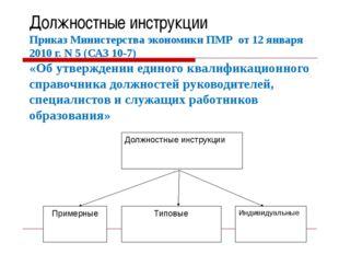 Должностные инструкции Приказ Министерства экономики ПМР от 12 января 2010 г