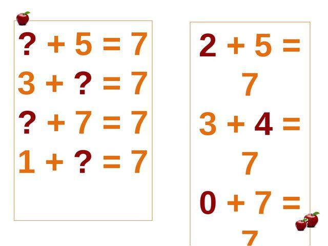 ? + 5 = 7 3 + ? = 7 ? + 7 = 7 1 + ? = 7 2 + 5 = 7 3 + 4 = 7 0 + 7 = 7 1 + 6 = 7