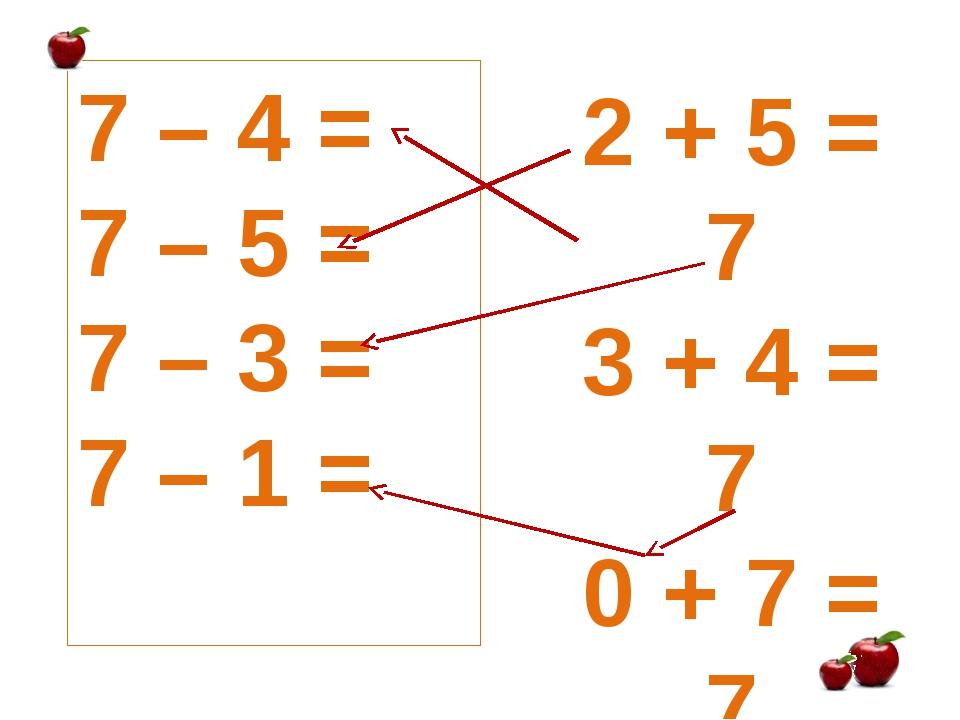 7 – 4 = 7 – 5 = 7 – 3 = 7 – 1 = 2 + 5 = 7 3 + 4 = 7 0 + 7 = 7 1 + 6 = 7