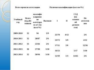 Всего прошли аттестациюНаличие квалификация (кол-во/%) Учебный годВсего пе