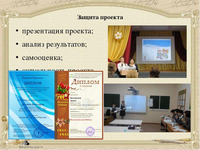 Защита проекта презентация проекта; анализ результатов; самооценка; актуально...