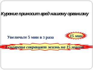 Увеличьте 5 мин в 3 раза 15 мин 1 сигарета сокращает жизнь на 15 минут Курен