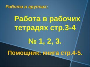 Работа в группах: Работа в рабочих тетрадях стр.3-4 № 1, 2, 3. Помощник: книг