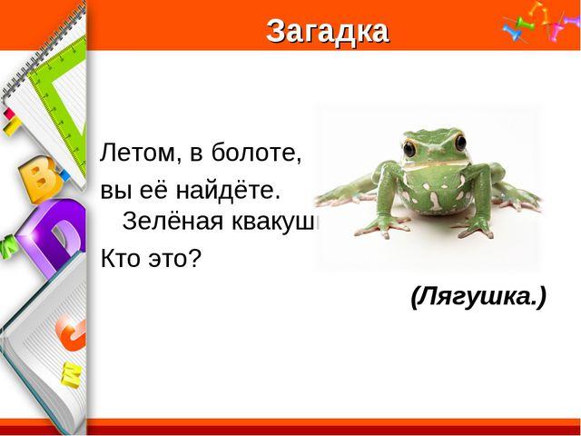 Загадка Летом, в болоте, вы её найдёте. Зелёная квакушка. Кто это? (Лягушка.)...