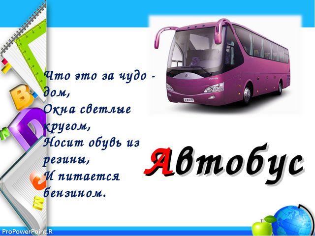 Автобус Что это за чудо - дом, Окна светлые кругом, Носит обувь из резины,...