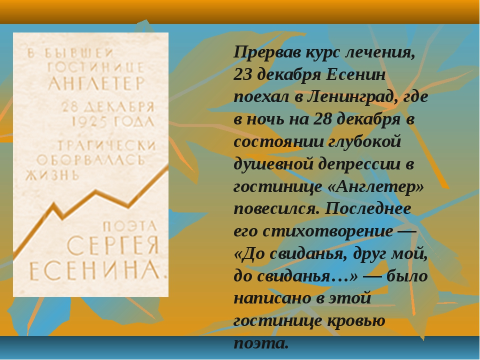 Прервав курс лечения, 23 декабря Есенин поехал в Ленинград, где в ночь на 28...