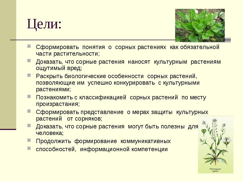 Цели: Сформировать понятия о сорных растениях как обязательной части растител...