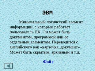 ЭВМ Минимальный логический элемент информации, с которым работает пользовате