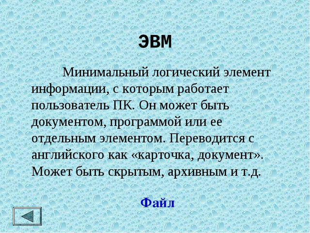 ЭВМ Минимальный логический элемент информации, с которым работает пользовате...