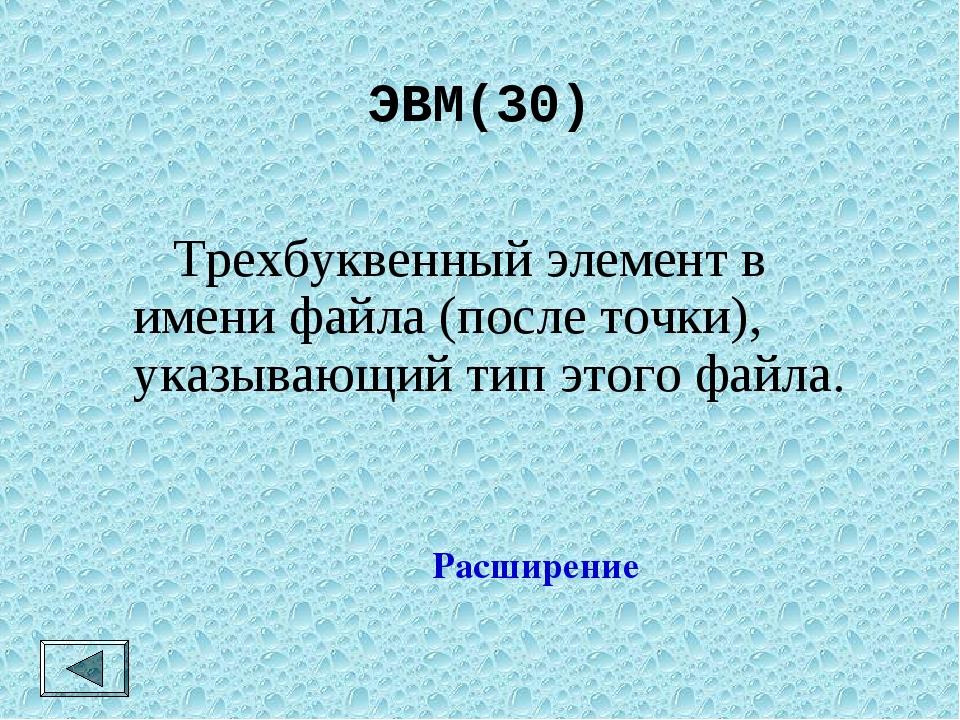 ЭВМ(30)  Трехбуквенный элемент в имени файла (после точки), указывающий тип...